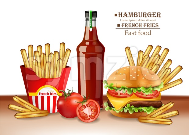 Fast food menu burger and french fries Vector realistic. 3d illustration