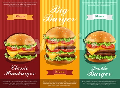 Hamburger retro menu Vector. detailed template lay out product design Stock Vector