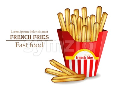 French fries Vector realistic. Fast food template. Detailed 3d illustration Stock Vector