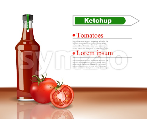 Ketchup Bottle Vector realistic mock up. Product packaging detailed design. Organic tomatoes detailed product Stock Vector