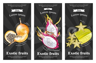 Exotic fruits banners set Vector realistic. Dragon fruit, granadilla, passion fruits, starfruit, physalis black background Stock Vector