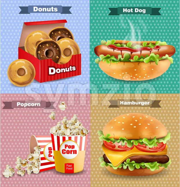 Fast food set with burger, hot dog, and french fries. Vector realistic 3d illustration Stock Vector