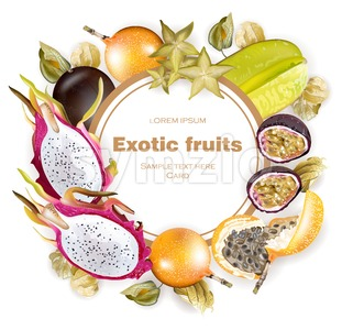 Exotic fruits round frame Vector realistic. Dragon fruit, granadilla, passion fruits, starfruit, physalis Stock Vector