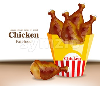 Chicken wings in a box realistic. Fresh organic meat 3d illustration layout Stock Vector