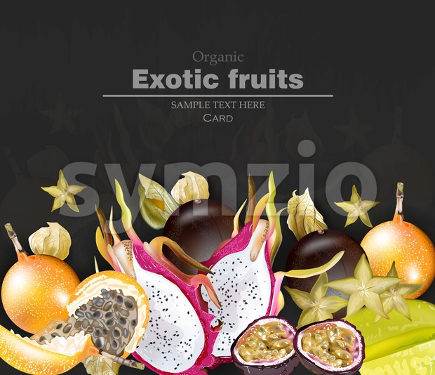 Exotic fruits banner Vector realistic. Dragon fruit, granadilla, passion fruits, starfruit, physalis black background