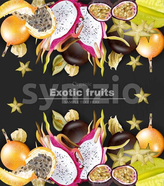 Exotic fruits banner Vector realistic. Dragon fruit, granadilla, passion fruits, starfruit, physalis black background Stock Vector