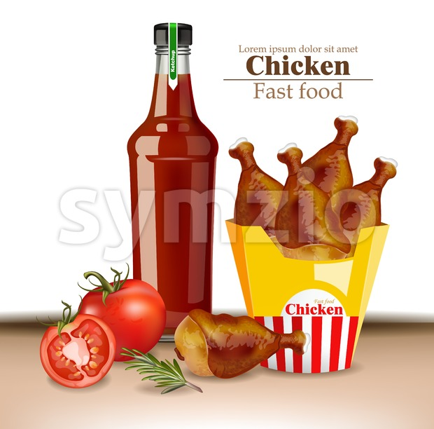 Chicken wings and ketchup bottle Vector realistic. Fresh organic meat 3d illustration layout banner