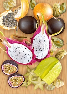 Tropic fruits pattern Vector realistic. Dragon fruit, granadilla, passion fruits, starfruit, physalis top view Stock Vector