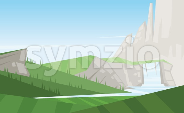 Digital vector abstract background with trees Stock Vector