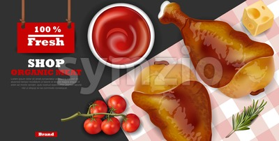Chicken wings Vector realistic. Fresh organic meat 3d illustration layout banner Stock Vector