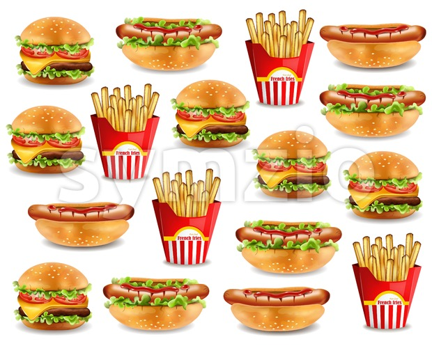 Fast food pattern with burger, hot dog, and french fries. Vector realistic 3d illustration