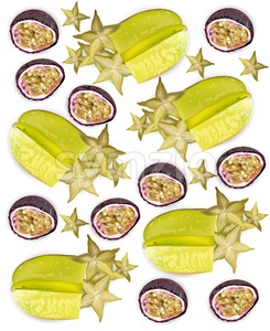 Tropic fruits pattern Vector realistic. Starfruit, passion fruit, physalis Stock Vector