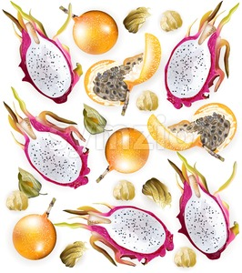 Tropic fruits pattern Vector realistic. Dragon fruit, granadilla, physalis Stock Vector