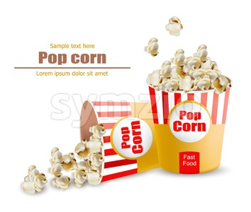 Popcorn Vector realistic. Snack 3d detailed illustration Stock Vector