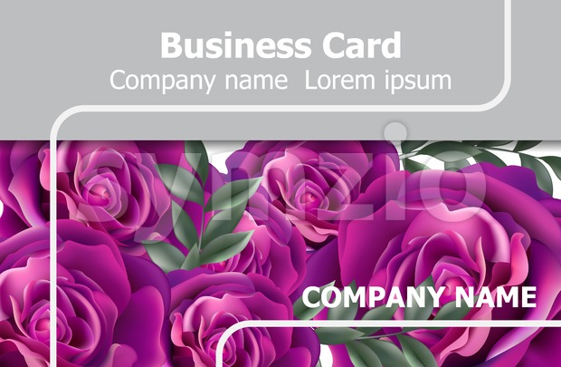 Business card with roses flowers Vector. Realistic floral decor background Stock Vector