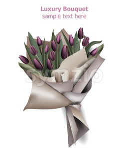 Tulip flowers bouquet Vector. Spring background. Realistic 3d illustration Stock Vector