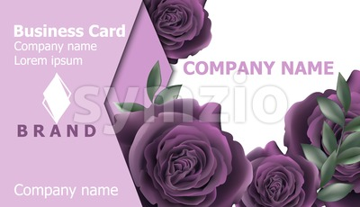Business card with roses flowers Vector. Realistic floral decor backgrounds. Ultra violet color Stock Vector