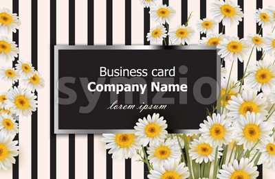 Business card with chamomile flowers Vector. Realistic floral decor background Stock Vector