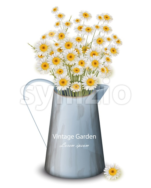 Chamomile flowers in a pot vase Vector. Spring background. Realistic 3d illustration Stock Vector