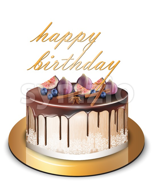 Happy Birthday cake with fig fruits Vector. Delicious dessert sweet design Stock Vector