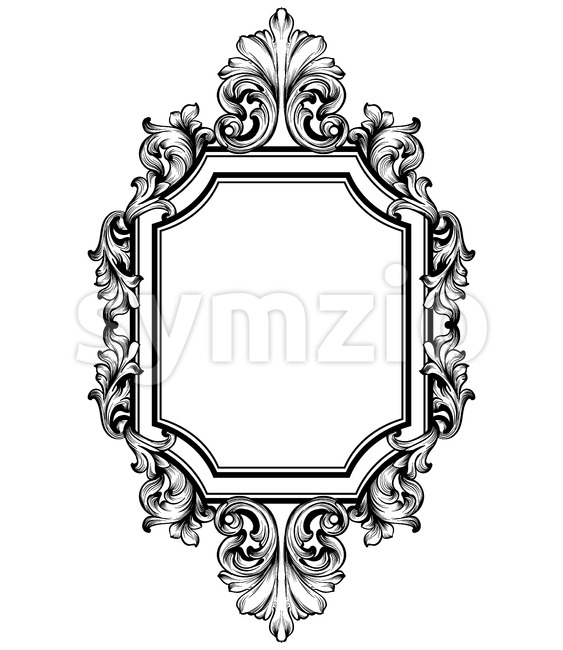 Baroque frame decor Vector. Victorian detailed rich ornament illustration. Royal luxury intricate ornaments. graphic line art style Stock Vector