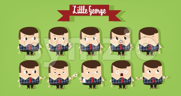 Digital vector cartoon character, cute young school boy showing different emotions, little george with red tie and brown hair