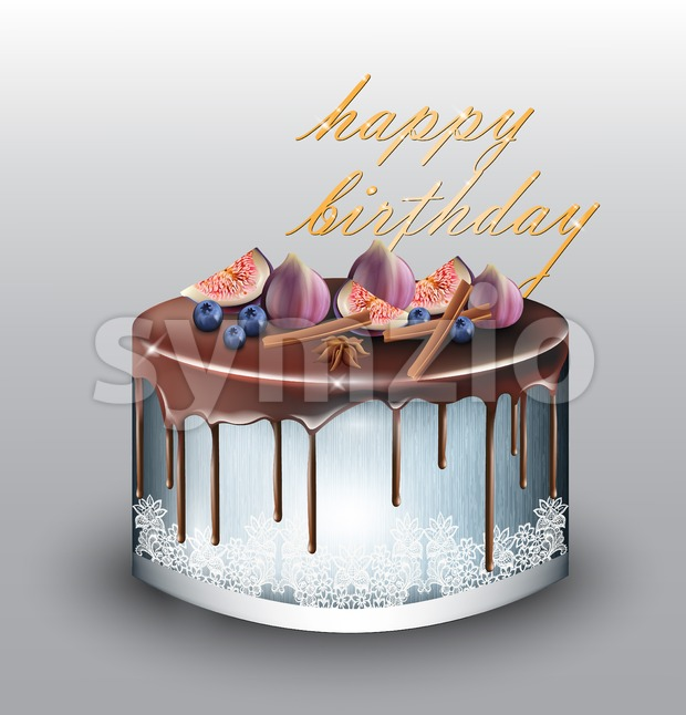 Happy Birthday modern blue cake with fig fruits Vector. Delicious dessert sweet design Stock Vector