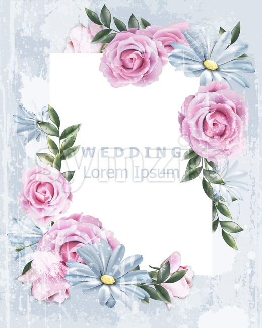 Delicate Vintage frame with rose flowers Vector. Wedding Invitation floral decor. Old Grunge effect. 3d illustration Stock Vector