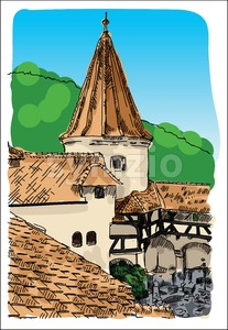 Digital vector castle sketch Stock Vector