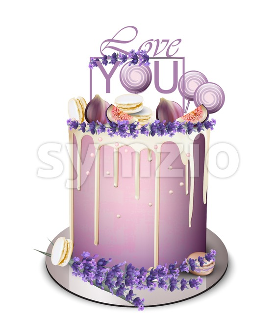 Lavender cake with fig fruits on top Vector realistic. White chocolate frosting. Birthday, anniversary, wedding royal dessert Stock Vector