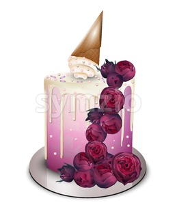 Modern cake with flowers and ice cream cone on top Vector realistic. Birthday, anniversary, wedding royal dessert Stock Vector