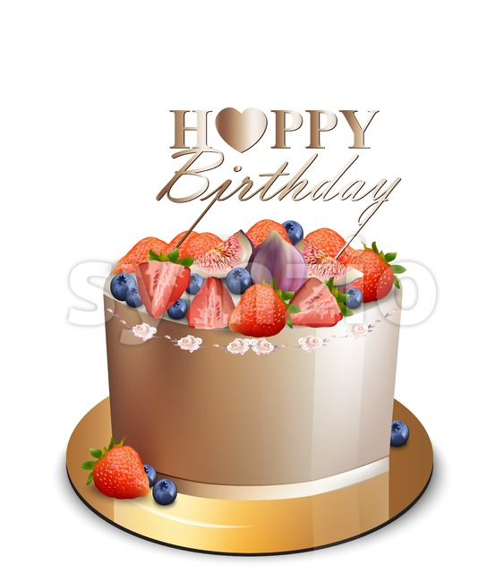 Happy birthday fruits cake Vector realistic. Anniversary, wedding, ceremony modern desserts. Golden cake with berry fruit