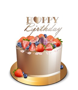 Happy birthday fruits cake Vector realistic. Anniversary, wedding, ceremony modern desserts. Golden cake with berry fruit Stock Vector