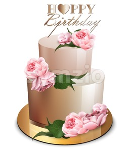 Happy birthday cake Vector realistic. Anniversary, wedding, ceremony modern desserts. Golden cake with peony flowers bouquet Stock Vector