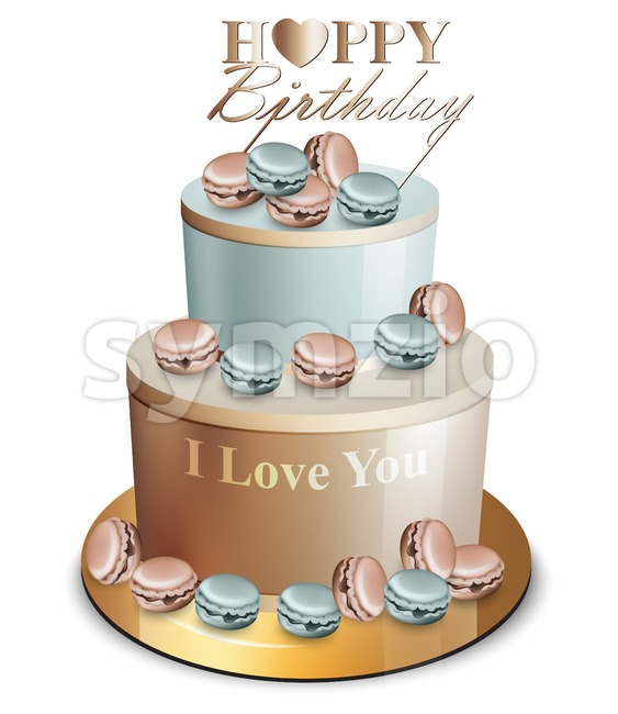 Happy birthday cake Vector realistic. Blue and golden. Anniversary, wedding, ceremony modern dessert Stock Vector