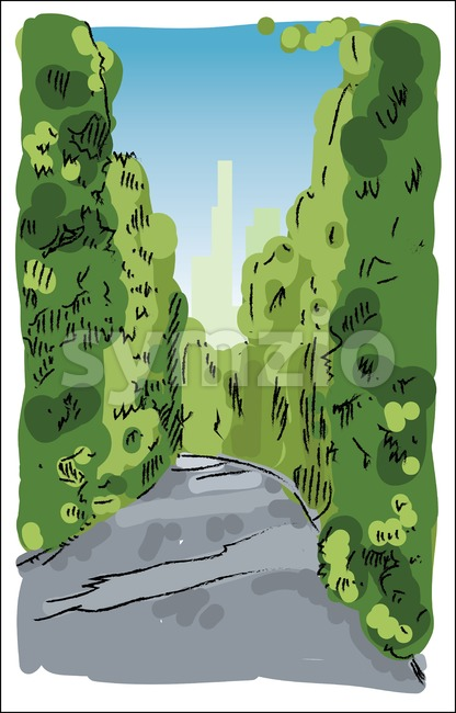 Digital vector sketch of a road Stock Vector