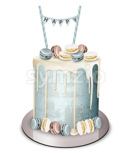 Happy birthday cake Vector realistic. White chocolate frosting and macaroons. Anniversary, wedding, ceremony modern dessert Stock Vector
