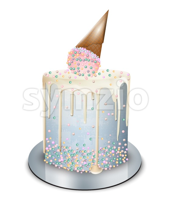 Modern cake ice cream cone on top Vector realistic. Birthday, anniversary, wedding royal dessert Stock Vector