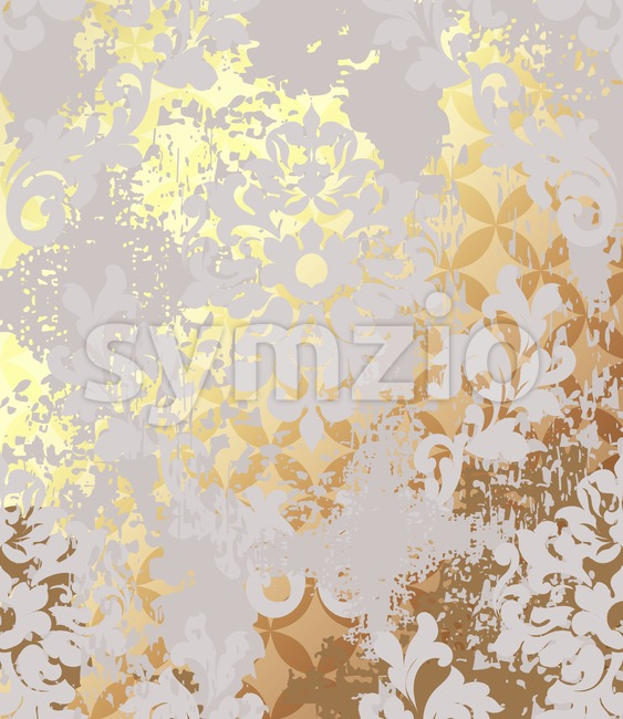 Luxurious Baroque golden pattern background Vector. Ornamented texture luxury design. Vintage Royal textile decor in rich gold Stock Vector