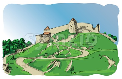 Digital vector castle sketch with blue sky Stock Vector