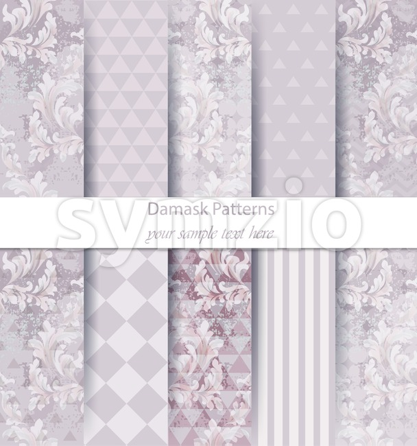Damask patterns set collection Vector. Classic ornament various colors with abstract background textures. Vintage decor. Trendy color fabric