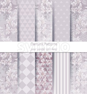 Damask patterns set collection Vector. Classic ornament various colors with abstract background textures. Vintage decor. Trendy color fabric Stock Vector