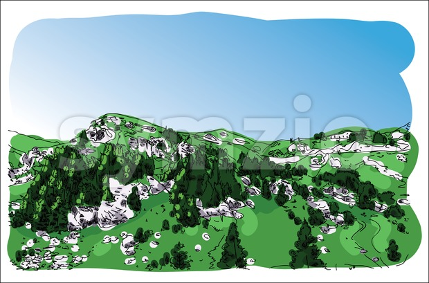 Digital vector mountain painted sketch Stock Vector