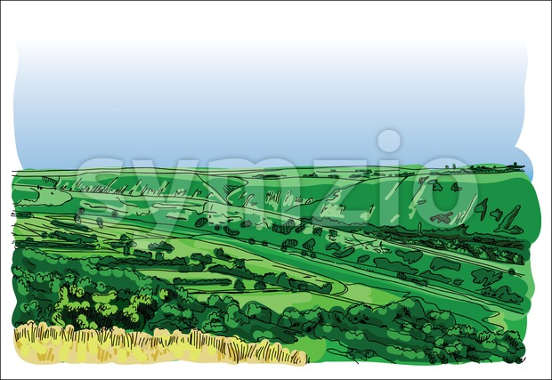 Digital vector landscape at orheiul vechi Stock Vector