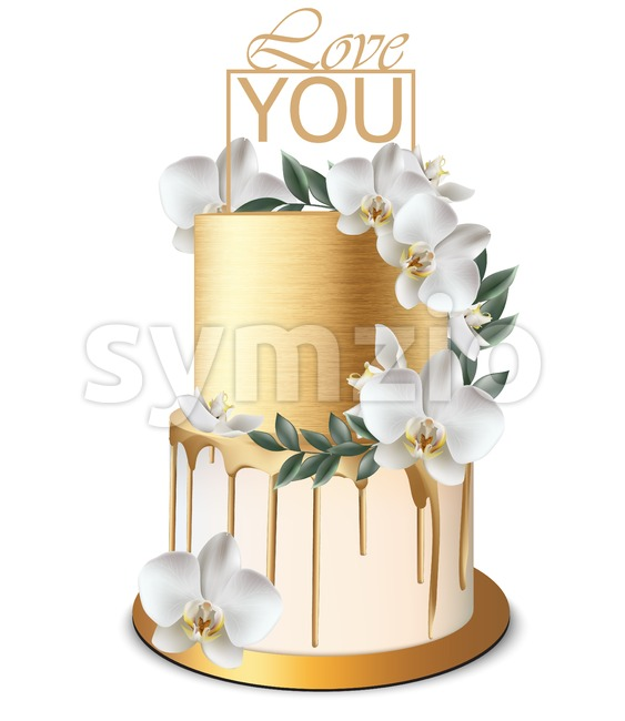 Luxury Gold cake Vector realistic. Birthday, anniversary, wedding delicate royal dessert Stock Vector