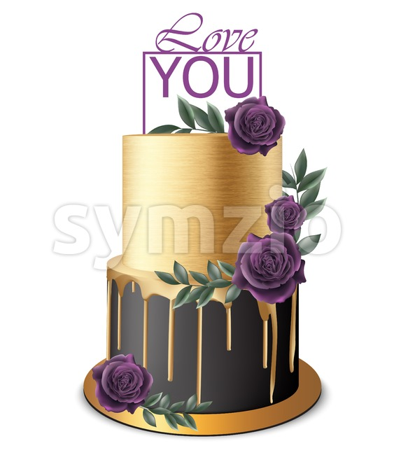 Luxury Gold and black cake Vector realistic. Birthday, anniversary, wedding royal dessert