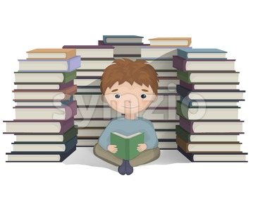 Boy reading a bunch of books Vector. knowledge symbol Stock Vector