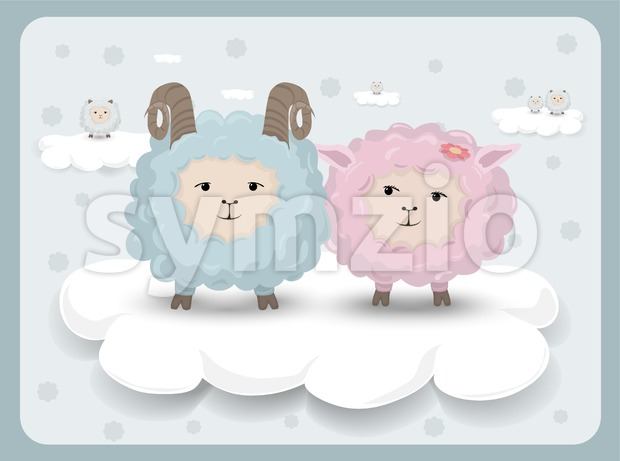 Happy Easter card with sheep couple Vector. Holiday background