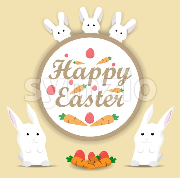 Happy Easter rabbit Vector. Holiday card flat style illustration