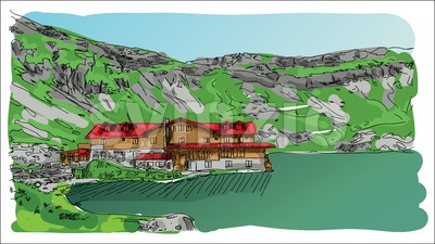 Digital vector sketch landscape lake Stock Vector